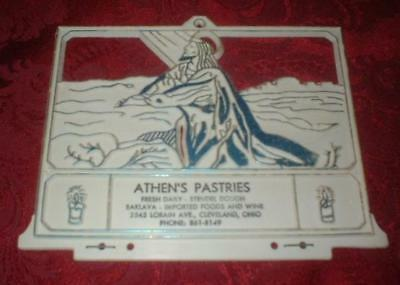 Vintage Jesus Calendar Advertising Display Athen's Pastries Baklava Cleveland Oh
