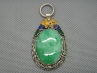 Collectibles Old Decorated Handwork tibet Silver Inlay Jade Pendant a02
