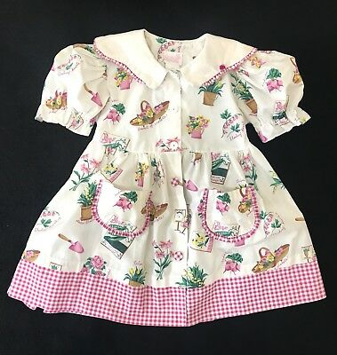 Vintage Rose Cottage Girls Dress Smock Button Front Sz 6 Gingham Novelty Print