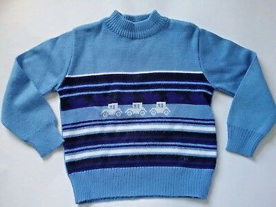MARQUISE vintage boys size 3 jumper knit blue cars toddler