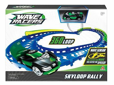 NEW Wave Racers Cars Sky Loop Rally Track Set Motion Controlled Interactive Toy