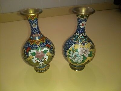 Pair Of Blue Chinese Cloisonne Vases