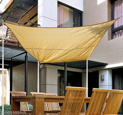 Outsunny 12ft Patio Lawn Shelter Sun Sail Shade Square w/ Carrying Bag Sand