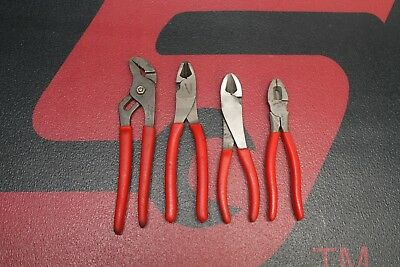 Snap On 4 Piece Pliers Set Cutters, Lineman's, Adjustable Joint Used
