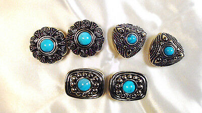 Turquoise Stone in Silver Tone Western Style Button Covers For Cowgirl & Cowboy