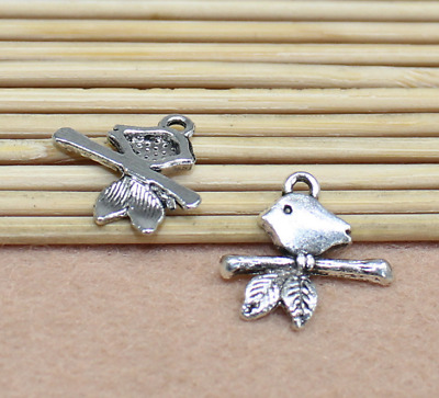 Free Shipping 16x16mm Ancient Silver Exquisite Cute Small Bird Charm Pendant 30