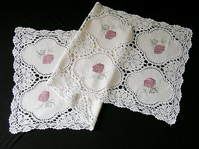 Vintage Cream Crochet Pink Satin Rose Embroidery Centrepiece Table Runner