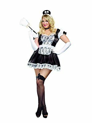 Dreamgirl Women's Sexy Plus Size Maid Costume, Black, 1/2X