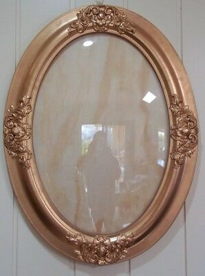 Pair of Vintage Gilded Oval Frames with Domed Glass