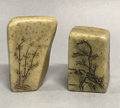 Pair Of Chinese Art Soapstone Seal