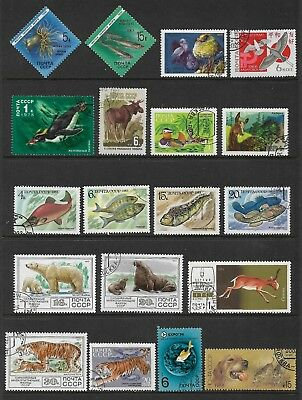 RUSSIA mixed collection No.61, Animals, Birds, Fish, CTO & mint