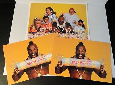 """1991 Smarties Candy Mr. T """"Crusade for Kids"""" Promotional Postcard X 2 w/Photo"""