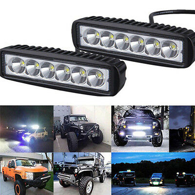 6inch 18W LED Work Driving Light Bar Cree Flood Beam Lamp Reverse Off Road GT