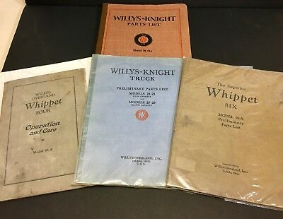 Willy-Knight & Willys-Overland (Parts List/Care Manuals)-1920s VINTAGE!!