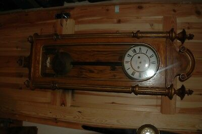 Antique jw benson Vienna wall clock all complete+case no hands repair or spares