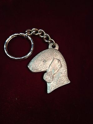 Rawcliffe Pewter I love my Bedlington Terrier Medal Key Ring Signed 1983 (53)