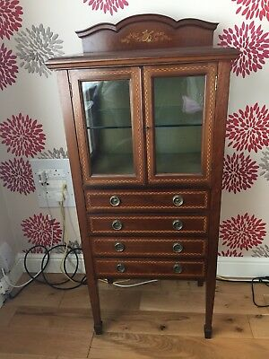 Mahogany Edwardian Music Cabinet Which Is Inlaid And Glass Fronted Stunning