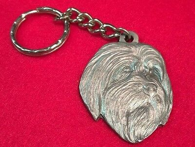 Bearded Collie 1984 RAWCLIFFE PEWTER  MEDAL KEYRING NOS  P. DAVIS artist