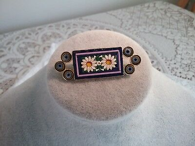 Vintage Italian Micro Mosaic Brooch, Marked Italy.
