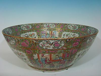 "Antique Chinese Rose Medallion Palace Punch Bowl, 23"", early 19th C"