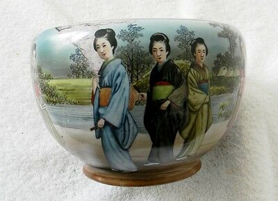 Japanese  bowl decorated with geisha women in period dress