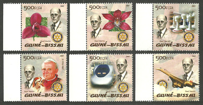 Guinea Bissau 2005 Rotary Flowers Orchids Chess Concorde Pope Medical Set Mnh