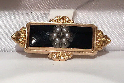 Broche Napoleon III or 18 K Onyx Perles fines/Ancient Gold Pendant Natural pearl