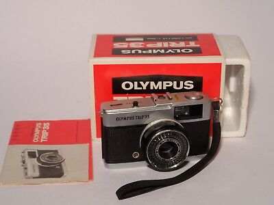 Olympus Trip 35 Camera With Box Instructions Wrist Strap Nice Condition