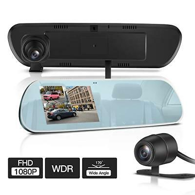 NEW TryAce T9P Dual Dash Cam,FHD 1080P Rearview Mirror Backup Camera 4'' IPS F/S