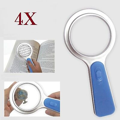 X4 Magnifier Glass With LED Light Handheld 5x Magnification Reading Fine Work