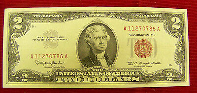1963 $2 Red Seal Note # A 11270786 A - Au