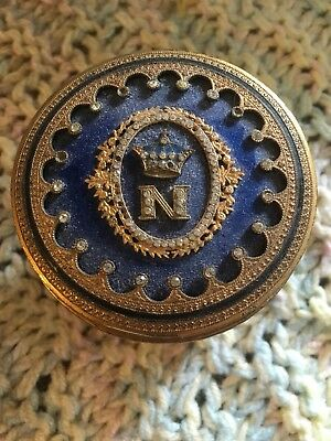 French Brass Bronze Antique Napoleonic Enamel Imperial Jar Canister