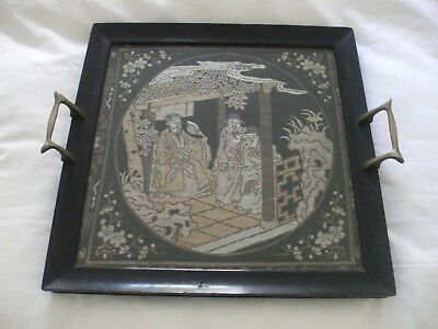 Antique Japanese Silver Thread Embroidery Tray