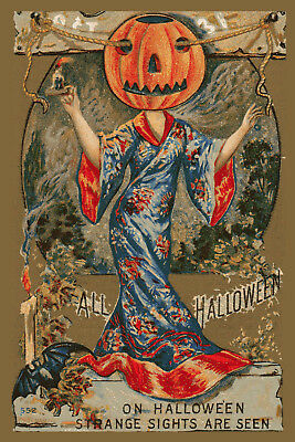 New Vintage Style Halloween Postcard Reproduction