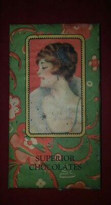 Vintage 1920s 1930s Chocolate Box with Lady