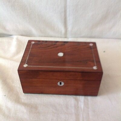Pretty Victorian Sewing/jewellery Box With Mother Of Pearl And Pewter Banding