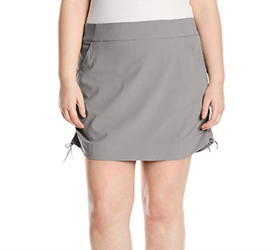 Columbia Womens Anytime Casual Skort 1X Plus Skirt w/ Attached Shorts Light Grey
