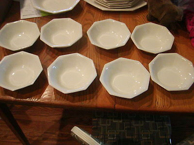 """Johnson Bros Ironstone HERITAGE WHITE 7"""" Soup or Cereal Bowls England Octagon"""