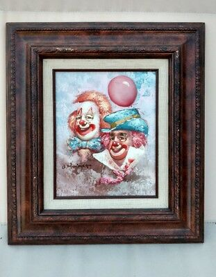 """Oil Painting """"Clowns"""" by William Moninet, Originally Sold by Ross Galleries, NY"""