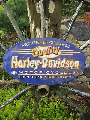 Vintage original old Harley Davidson motorcycle sign sales service oil gas rare