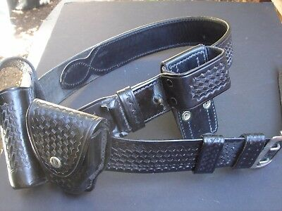 Vintage SAFETY SPEED Montebello 44 inch Police Belt and 3 attached  Accessories