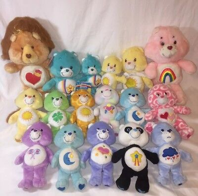 """Care Bears Plush Lot Of 17 Beanies And 10"""" And Vintage 13"""" Lionheart & Rainbow"""