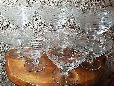 Bryce Brothers 8 Bowls Vintage Footed Glass Ice Cream Sherbert Cups MCM ETCHED