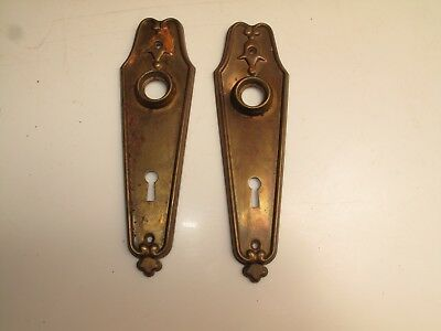 Pair Of Vtg Art Deco/nouveau Door Knob Back Plates Brass Plated