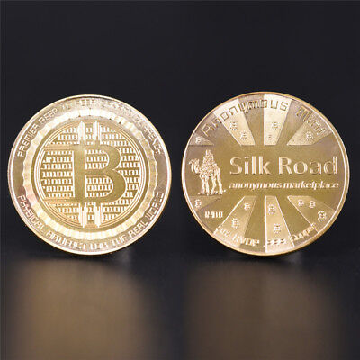 1PC Gold  Plated Silk Road Bitcoin Coin BTC Collectible Gift Art CollectionUUDE