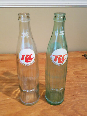 2 Vintage RC Cola Returnable Bottles Green and Clear 16 oz. 1970's