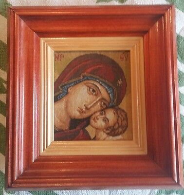 "Religious goblen gobelin wood frame needlepoint ""VIRGIN  MARY with CHILD"""