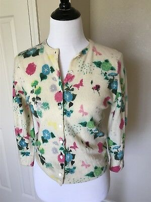 VTG 50s 60s 100%Cashmere Cardigan Sweater Floral Sz 4 6 Lovely!
