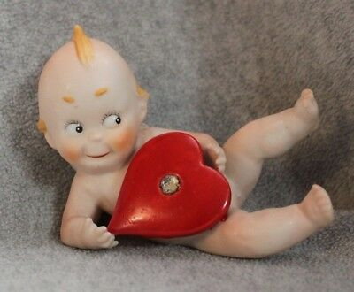Vintage Ardalt Lenwile China Kewpie Piano Baby With Jeweled Red Heart Beautiful!
