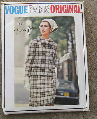 Original 1960s  Vogue Paris Original Pattern 1581 Suit Blouse Nina Ricci FF  32